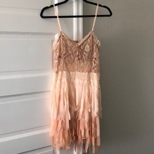 Free People peach lace sequin feather dress
